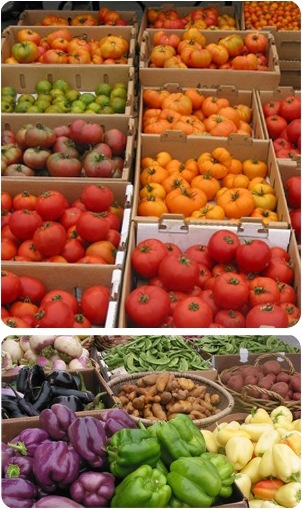 Colorful vegetables at a farmers market